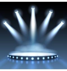illuminated podium with spotlights vector image