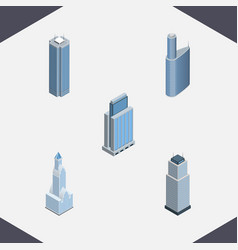 Isometric skyscraper set of building urban tower vector