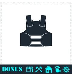 Life vest icon flat vector