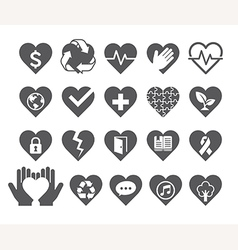 Love concept heart line icons style vector image