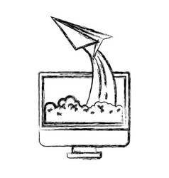 monochrome blurred silhouette of lcd monitor and vector image