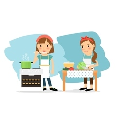 Mother cooking in kitchen vector