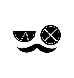 Mustache and two slice lime mexican symbol vector