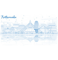 Outline kathmandu skyline with blue buildings and vector