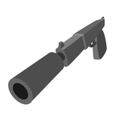 Pistol with silencer cartoon icon vector image vector image