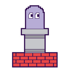Pixel ghost and wall brick game play arcade vector