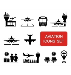 Plane and aviation icons with red signboard vector