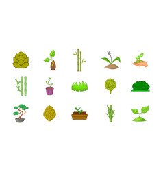 plant icon set cartoon style vector image