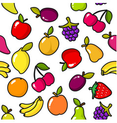 seamless pattern of fruits with black outline vector image
