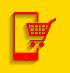 shopping on smart phone sign red icon vector image vector image
