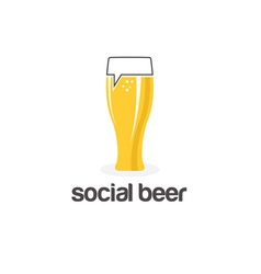 Social beer glass pub design template vector