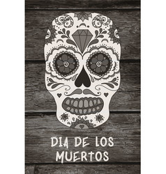 Sugar skull mexican skull on wooden vector