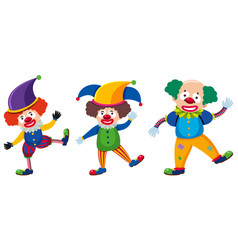 Three clowns with different costumes vector