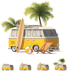 Realistic vintage hippie van icon set vector