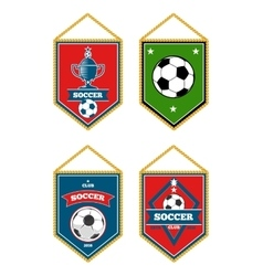 Soccer pennants set isolated white vector