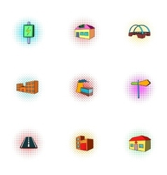 City buildings icons set pop-art style vector