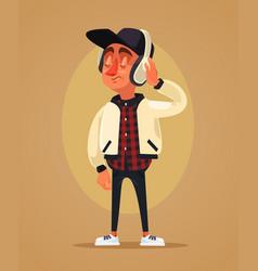 happy boy teen character listening music vector image