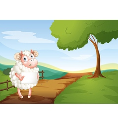 A sheep holding an empty signboard at the road vector