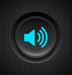 Black and blue sound button on carbon background vector