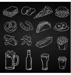 hand drawn icons for street cafe vector image