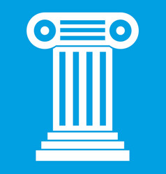 Roman column icon white vector