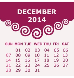 Calendar of december 2014 with spiral design vector