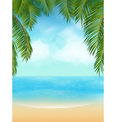 Palm tree tropical beach vector