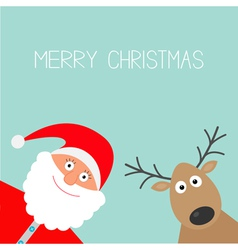 Cartoon Santa Claus and deer Merry Christmas card vector image