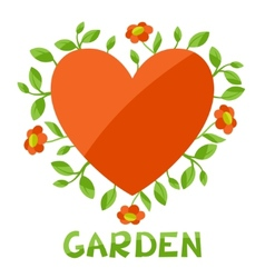 Background with heart and flowers love garden vector