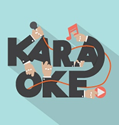 Microphone hand with karaoke typography design vector