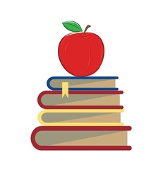 Books apple school vector