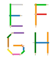 colored pencils alphabet vector image
