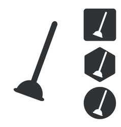 Plunger icon set monochrome vector