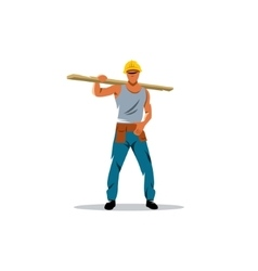 Builder man sign Male in helmet carrying wooden vector image