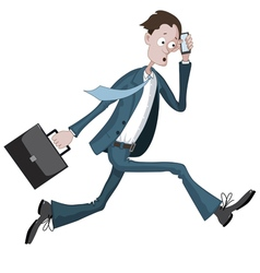 Cartoon businessman running hurriedly vector