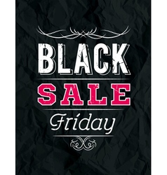 Black friday sale banner on crumple paper vector