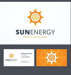 Sun energy logo and business card template vector