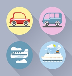 Auto icon set flat style car bus plane and ship vector
