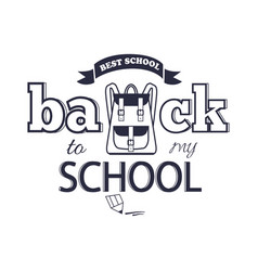 Back to my school black-and-white isolated sticker vector