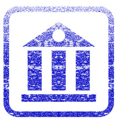 Bank building framed textured icon vector