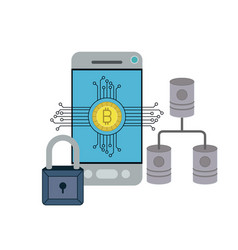 Bitcoin digital currency secure network in vector