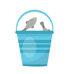 bucket of fish icon flat cartoon style isolated vector image vector image