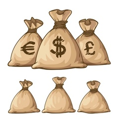 Cartoon full sacks with money vector image
