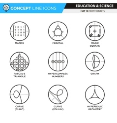 Concept line icons set 14 math vector