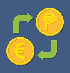Currency exchange euro and peso vector