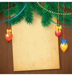 Decorated Christmas Tree Branch New Year vector image