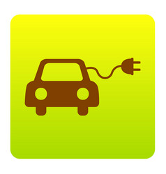 Eco electric car sign brown icon at green vector