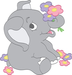 Elephant picking flowers vector