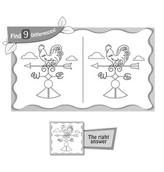 find 9 differences game black weathercock vector image vector image
