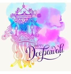 Happy Deepawali watercolor greeting card to indian vector image